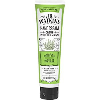 J.R. Watkins Natural Moisturizing Hand Cream, Hydrating Hand Moisturizer with Shea Butter, Cocoa Butter, and Avocado Oil, USA Made and Cruelty Free, 3.3oz, Aloe & Green Tea, Single