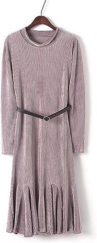 Nfgumnos Le Long Hiver, MesLes dames Robe Robe à Manches Longues Jupes plissées Solides,Rose,F