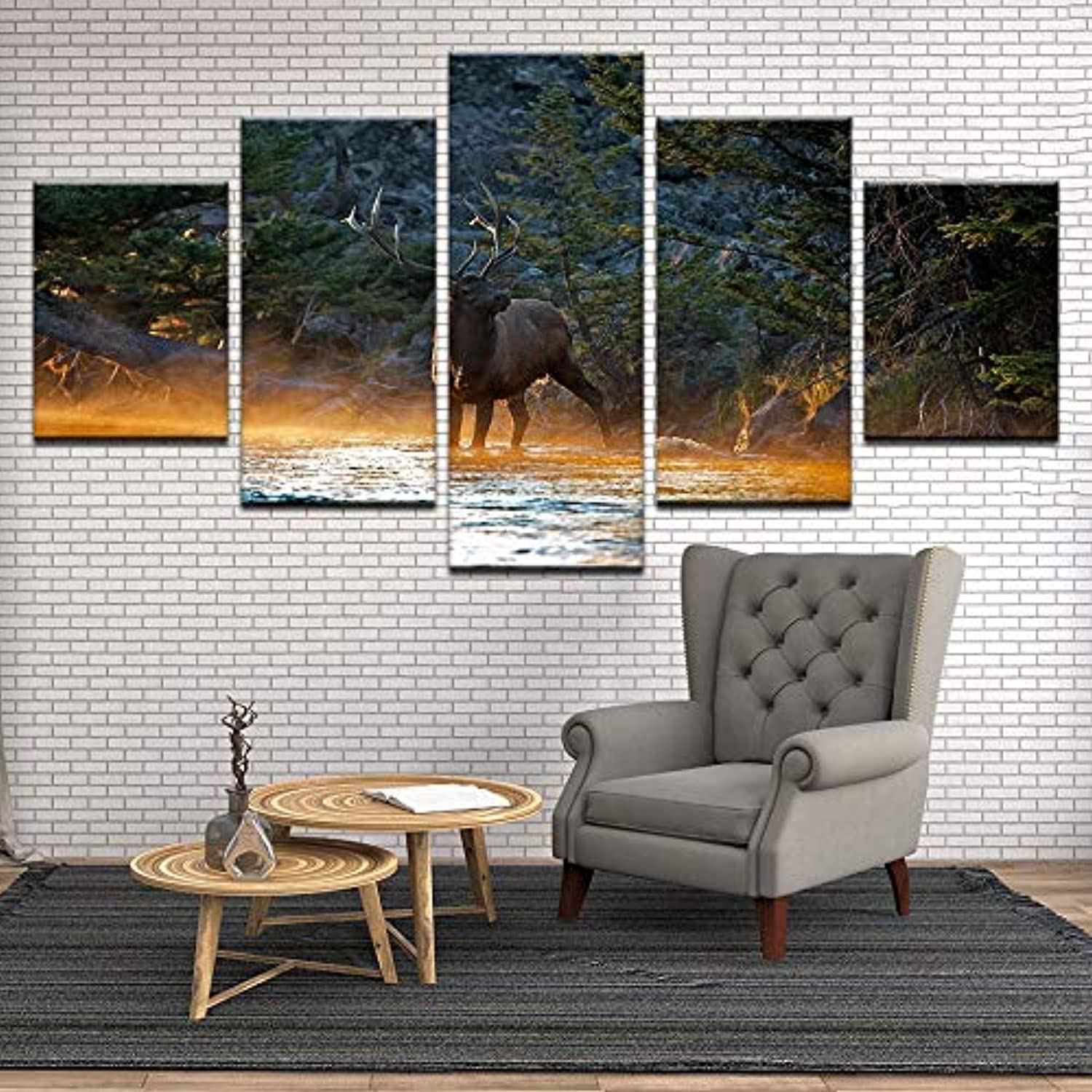 Natural Landspace Picture Animal Reindeer On Rorest River Home Wall Art 5 Piece Modular Pictures Living Room Decoration