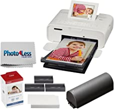 Canon SELPHY CP1300 Compact Photo Printer (White) + Canon KP-108IN Ink and Paper Set + Battery + Photo4Less Cleaning Cloth - Deluxe Value Printing Bundle