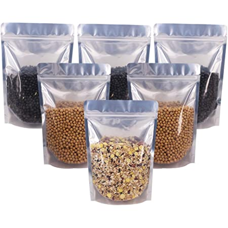 Dorado, 7.5 x 12cm Bolsa Plana con Cierre a Prueba de Olor con Ventana Transparente para Almacenamiento de Alimentos Rimiko 50 Piezas de Bolsa de Resellable de Aluminio Mylar Zip lock Bags