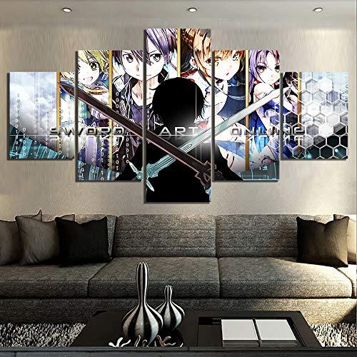 WYJ Cinco Cuadros Pintura de Lienzo Modular 5 Piezas Sword Art Online Anime Home Decor Pictures Modern para Sala de Estar Wall Art Frame