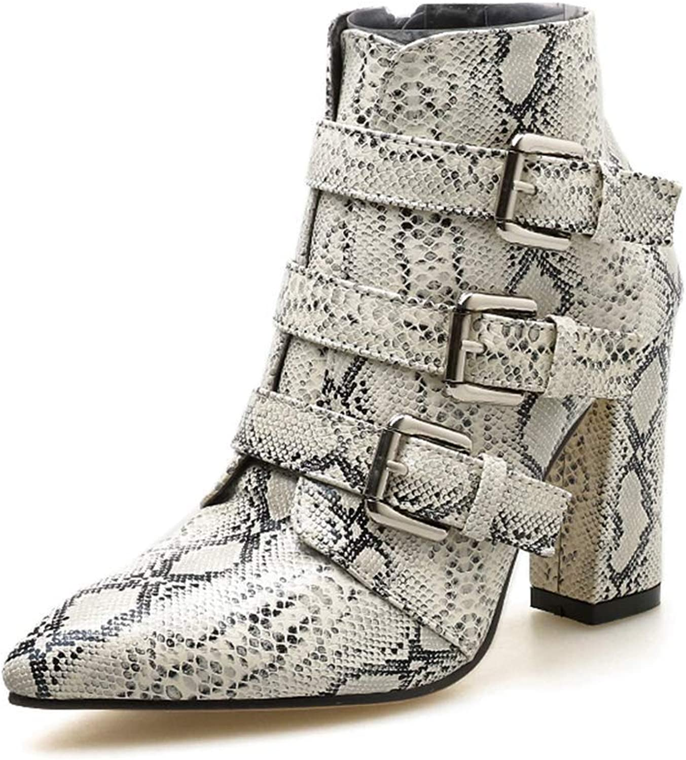 Lelehwhge Women's Fashion Sexy Boots Snakeskin Leopard Pattern Pointed Toe Side Zip Belt Buckle Thick Booties shoes Ankle Boots White 8.5 M US