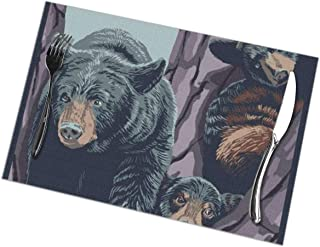 Yosemite National Park, California - Black Bears Placemats Set of 6 for Dining Table Washable Polyester Placemat Non-Slip Heat Resistant Kitchen Table Mats Easy to Clean 1218inch