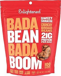 Enlightened Bada Bean Bada Boom Plant-based Protein, Gluten Free, Vegan, Non-GMO, Soy Free, Kosher, Roasted Broad Fava Bean Snacks, Sriracha, 3 Ounce (6 Count)