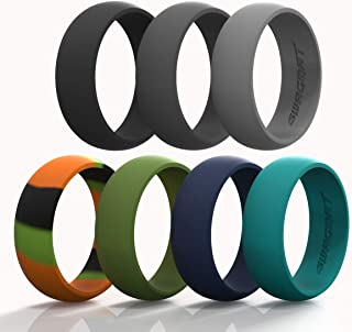 Swagmat Silicone Wedding Ring for Men and Women - 7 Packs 3 Packs and Singles - Black, Grays and Blue Rubber Wedding Bands...