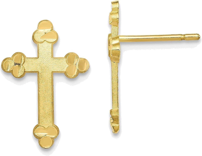 Budded Cross Earring in 10K Yellow Gold