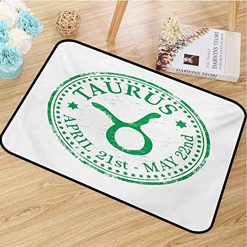 ESDGVUH Zodiac Taurus Universal Door Mat Grunge Looking Graphic Rubber Stamp Design Vintage Stars and Sign Door Mat Floor Decoration W19.7 X L31.5 Inch Fern Green and White 16x24(IN)