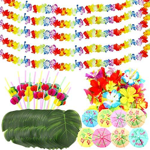 75 Stück Hawaii Party Dekoration Kit,Hawaii Luau Garlands Banners, Hawaiianische Blumen,Künstliche Palmenblätter, Regenschirme und 3D Fruchtstrohhalme für BBQ Tropischen Garten Tiki Party Dekoration