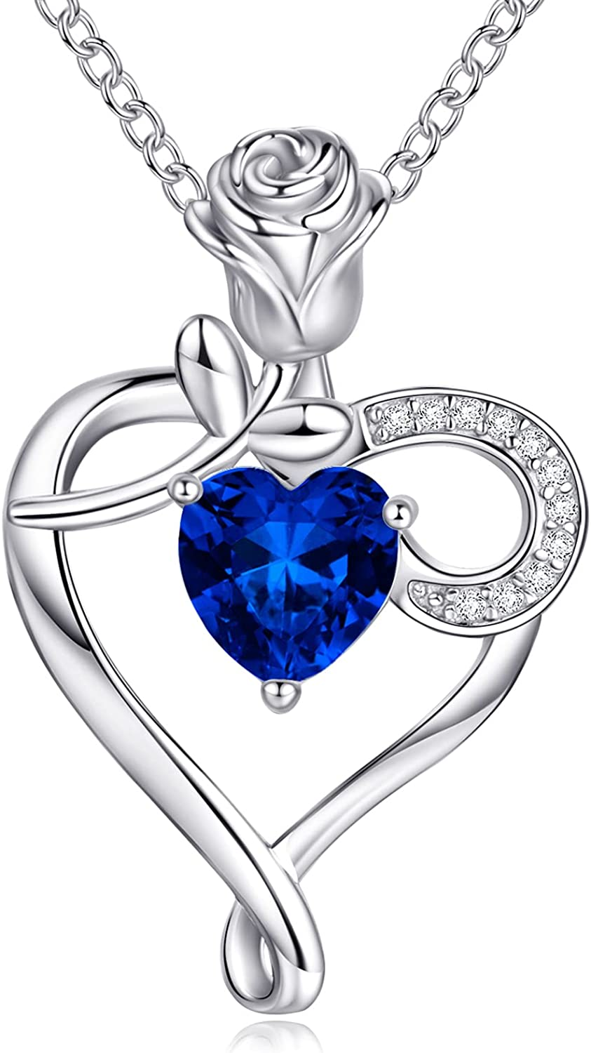 unisex Deluxe NINAMAID Heart Necklace Birthstone Necklaces Sterl Women 925 for