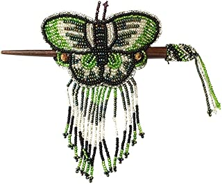 Multicolored Seed Bead Butterfly Beaded Fringe Dangle Womens Handmade Hair Barrette Wooden Stick Fashion Accessory