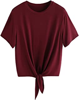 Romwe Women's Short Sleeve Tie Front Knot Casual Loose Fit Tee T-Shirt Burgundy XXL