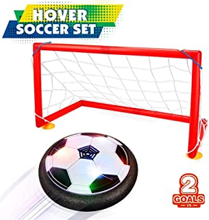 HahaGift Birthday Present for 3-12 Year Old Boy,Indoor Kids Soccer Hover Ball Set 2 Goals Toys for 3 4 5 6 Year Old Boys Gifts for 7 8 9 Year Boys Black