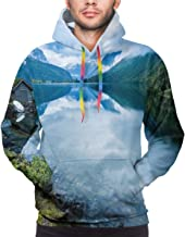 GULTMEE Men's Hoodies Sweatershirt,Landscape Photography with Wooden Cabins Clear River and Mountains Norway Europe,