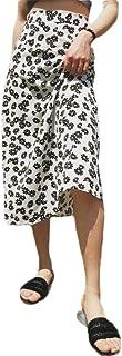 MU2M Women's High Slim Summer Rise Zip Front Floral Print Beach Party Long Maxi Skirts