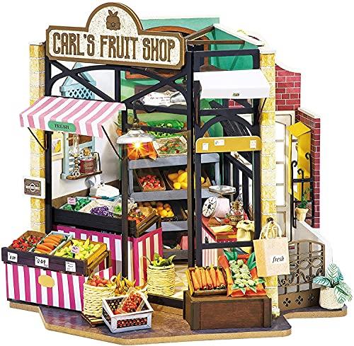 Rolife - Kit fai da te in miniatura per la casa delle bambole per adolescenti e adulti, 3D in legno per la casa delle bambole, idea regalo per bambini, l'angolo della felicità - Carl's Fruit Shop