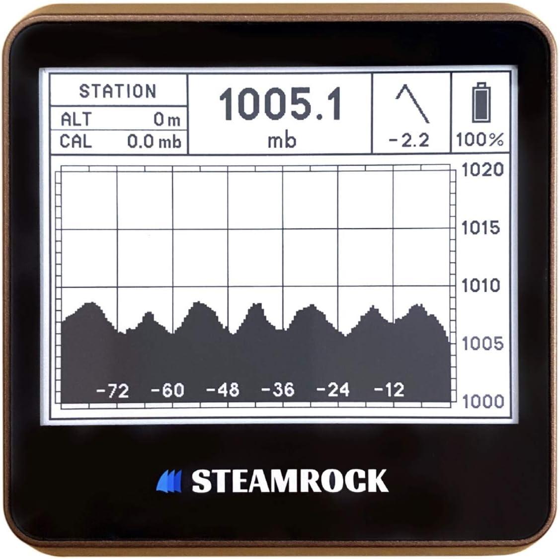 STEAMROCK Digital Barometer Barograph Max 43% OFF Brown Finally resale start