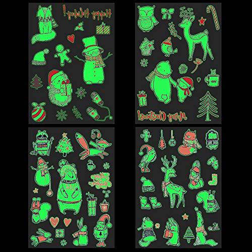 Tattoo Kinder 4 Weihnachten Im Dunkeln leuchten Temporäre Tattoos Set Wasserdicht Kinder tattoos Aufkleber Schablonen für Mädchen Jungen Festival Mitgebsel Kindergeburtstag Gastgeschenke Taschen