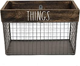 Rae Dunn by Designstyles Wire Storage Basket - Metal and Solid Wood Organizer - Decorative Folder Bin - for Office, Bedroo...