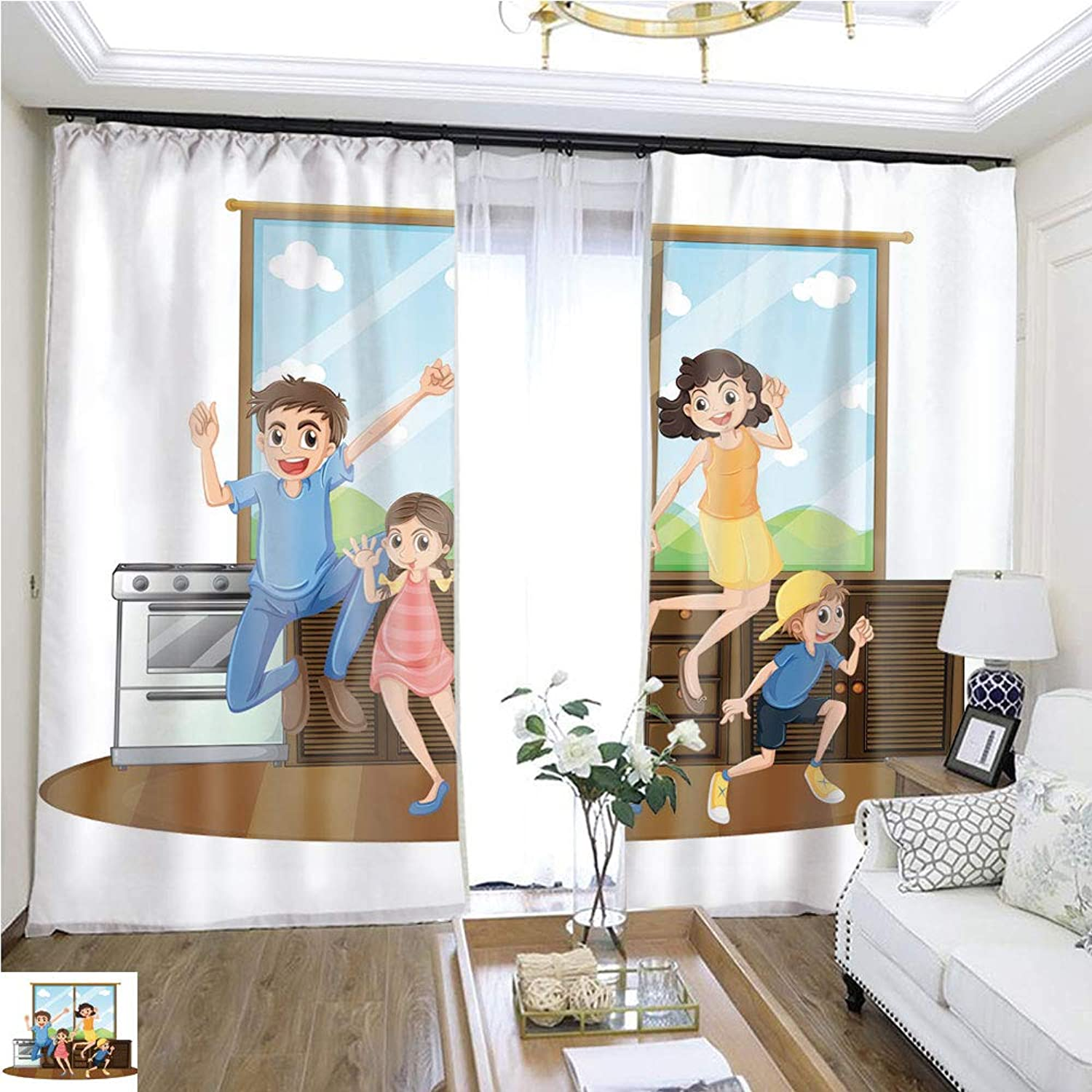 Air Port Screen Family Happy at Home W96 x L96 Block The Sun Highprecision Curtains for bedrooms Living Rooms Kitchens etc.