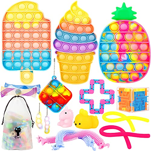 IDJWVU Pop Fidget Toy Pack,Push Bubble Popping Sensory Toy Set,Simple Pop on Its Dimple Autism Stress Anxiety Relief Squeeze Bundle Toy for Kid Adult(Rainbow Ice Cream+Popsicle +Pineapple)