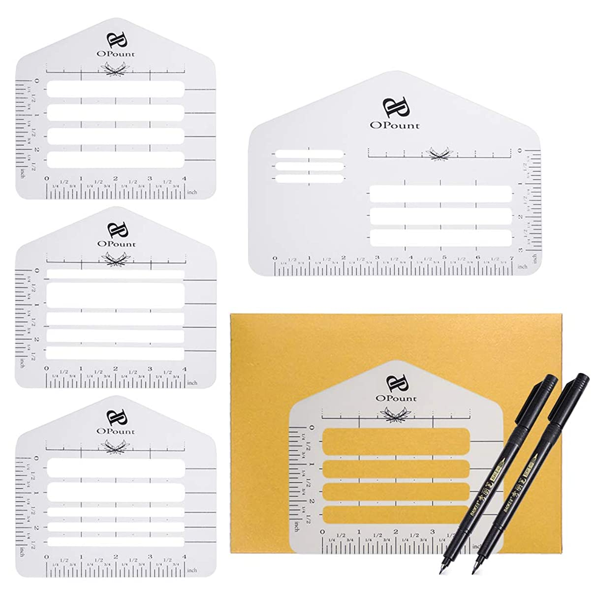 PP OPOUNT 8 Pieces Customized Envelope Addressing Guide Sets 5 Style Envelope Addressing Guide Stencil Templates with 2 Size Brush Pens Fits Wide Range of Envelopes, Sewing, Thank You Card