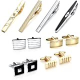 Jovivi 12pcs Stainless Steel Classic Cufflinks and Tie Clip Set for Shirts Wedding Business with Gift Box