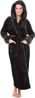 Alexander Del Rossa Women's Warm Fleece Robe with Hood, Long Faux Fur Plush Bathrobe