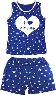 Petitebella Girls' I Love 4Th July Patriotic Stars Cotton Shirt Short Set