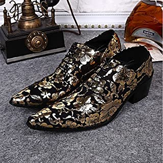 CLG-FLY Men's Shoes Real Leather All Season Formal Shoes Novelty Oxfords Animal Print For Wedding Party & Evening Burgundy Gold