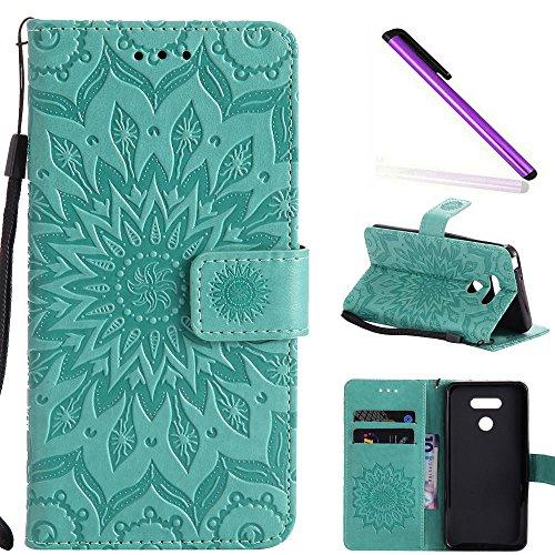 COTDINFOR LG G6 Funda Flores Cierre Magnético Billetera con Tapa para Tarjetas de Cárcasa Elegante Retro Suave PU Cuero Caso Protectora Case para LG G6 Sunflower Green KT