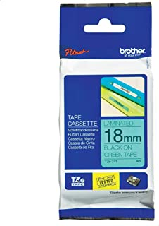 Brother TZE-741 18mm Laminated Tape, Black on Green
