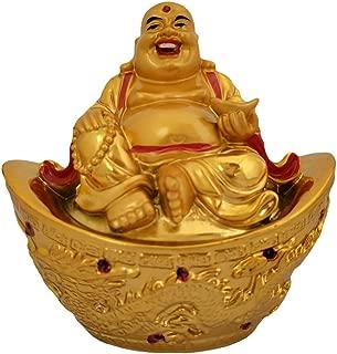 Divya Mantra Happy Man Laughing Buddha Sitting on Gold Ingot Yuan Bao for Attracting Abundance Wealth Financial Prosperity Good Luck
