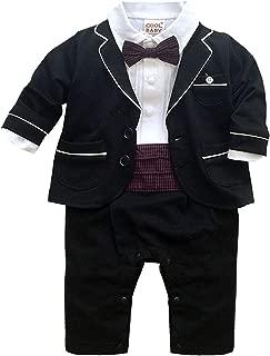 Baby Boys 2pc Tuxedo Gentleman Onesie Wedding Suit Romper Baptism Outfit