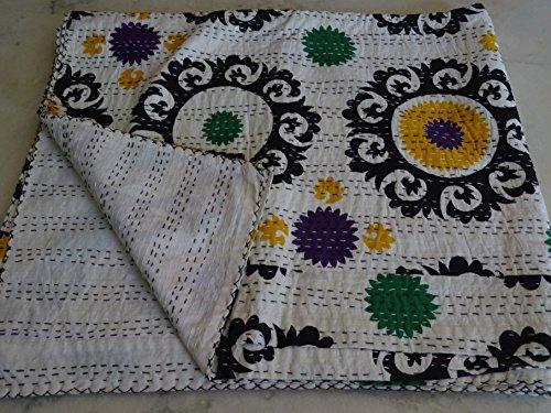 Tribal Aziatische Textiel Multi kleuren Paisley Patchwork Print Queen Size Kantha Quilt, Kantha deken, Bed Cover, Koning Kantha sprei, Boheems beddengoed Kantha Size 90 Inch x 108 Inch 1111