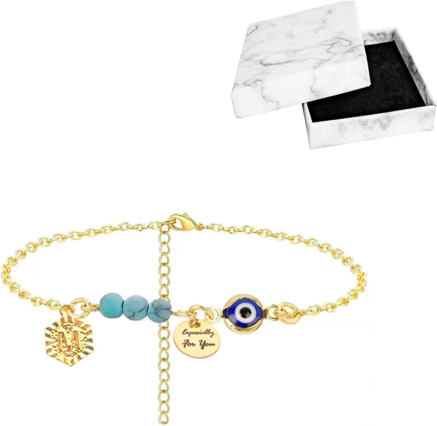 CSZhou-Boho Anklets for Women, 14K Gold Anklets with Evil Eye, Initial A-Z Letter and