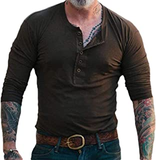 Men's Slim Fit Long Sleeve Henley T-Shirt Casual Basic Tee Shirt Blouses