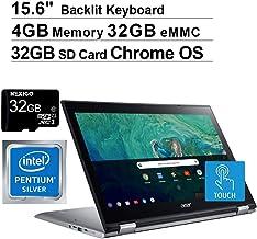 2020 Acer Spin 15.6 Inch FHD 1080P Touchscreen 2-in-1 Laptop, Intel Pentium N4200 up to 2.5 GHz, 4GB RAM, 32GB eMMC, Backlit KB, Chrome OS + NexiGo 32GB MicroSD Card Bundle