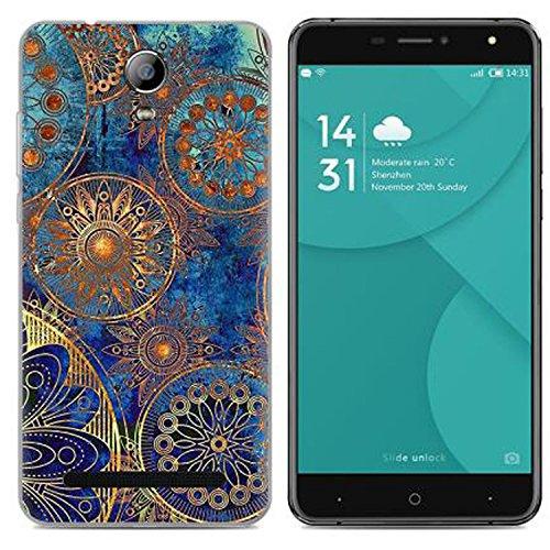 Yrlehoo Para Doogee X7, Cuero Funda de Silicona Suave para Doogee X7 Protectora Cover Case, Flores Azules