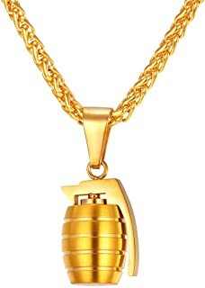 Men Personalized Punk Necklace Jewelry Stainless Steel 18K Gold Plated Rock Army Style Cool AK47 / M9/ M16 / Uzi Rifle Shape Pendant, Chain 22