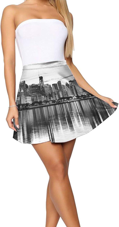 RHRFOL Chicago Reflection Women's Basic Versatile Stretchy Flared Casual Mini Skater Skirt