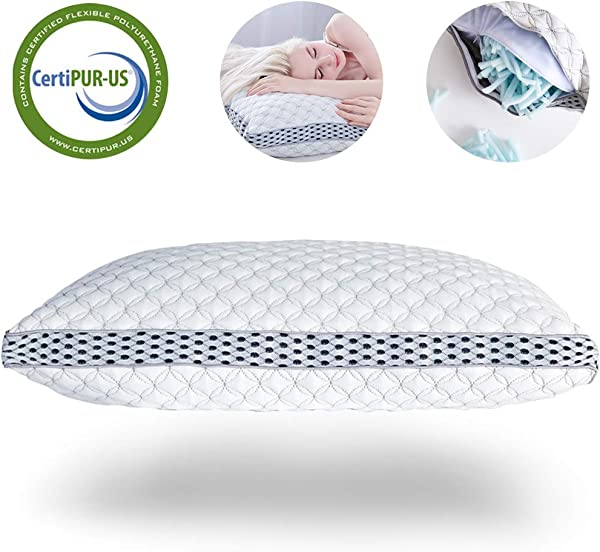 LIANLAM Memory Foam Pillow For Sleeping Shredded Bed Bamboo Cooling Pillow With Adjustable Loft 4D Design Hypoallergenic Washable Removable Derived Rayon Zip Cove King