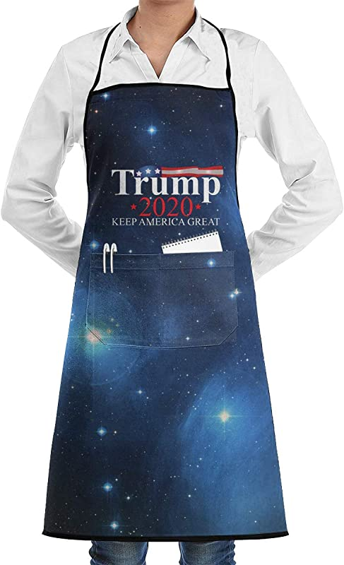 Trump 2020 USA Keep America Great Bib Apron With Convenient Pockets For Women And Men