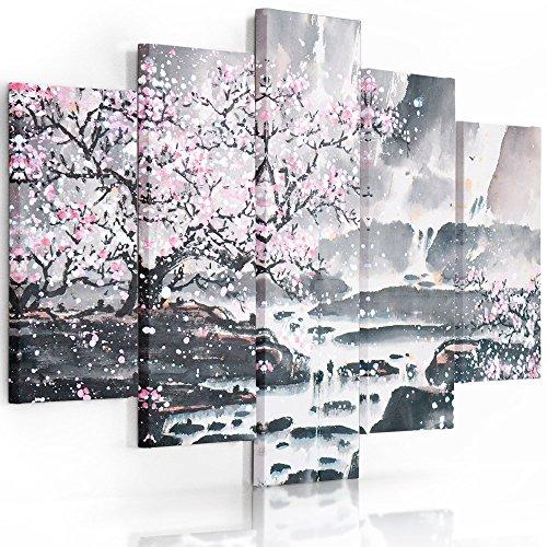 Feeby Frames, Cuadro en lienzo - 5 partes - Cuadro impresión, Cuadro decoración, Canvas (CEREZO ÁRBOL, ROSA, GRIS) 150x100 cm, Tipo A