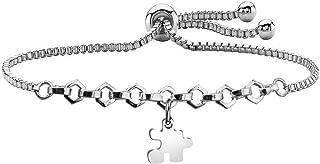 LQRI Autism Awareness Bracelet Autism Puzzle Piece Charm Adjustable Slider Bracelet Gift for Autistic Children Autism Mom Teacher Speech Language Pathologist