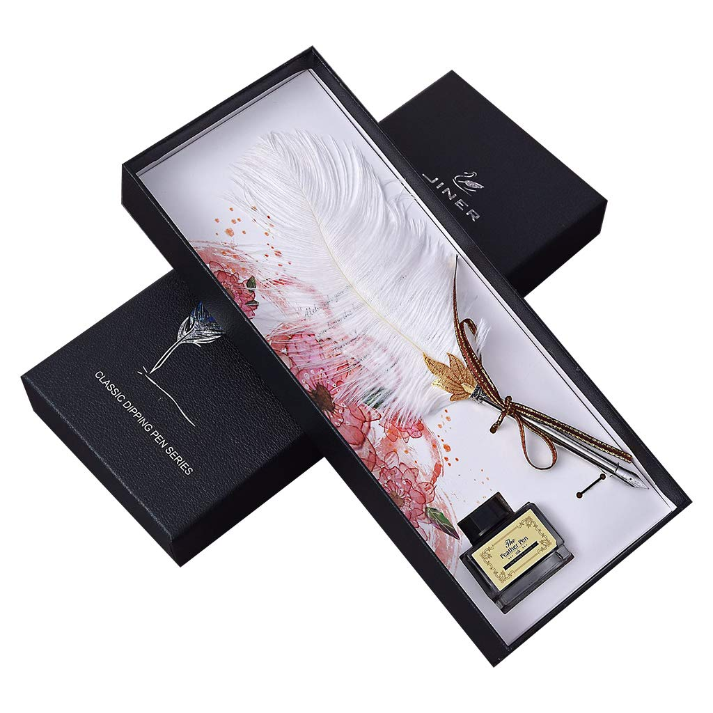 yangyang Vintage Handmade Ostrich Feather Quill Dip Fountain Pen with Ink Set English Calligraphy Writing Stationery Wedding Gift