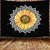 Mandala Sunflower Tapestry, Trippy Yellow Floral Flower on Black Small Tapestry Wall Hanging for Bedroom, Hippie Tapestry Beach Blanket College Dorm Home Decor (60' W X 40' H)