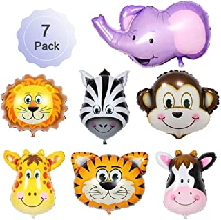 Jungle Safari Animals Balloons Giant Zoo Animal Balloons Kit For Jungle Safari Animals Theme Kids Toy Gift Birthday Party Decorations Tiger Lion Monkey Elephant Deer Zebra Cows 22 Inch 7 Pack