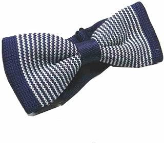 PAPILLON UOMO blu navy A RIGHE bianche e marroni SETASILK BOW TIE MADE ITALY