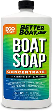 Premium Grade Boat Soap Concentrate Cleaner Boat Wash for Fresh and Salt Water Marine Use Fiberglass Cleaning Supplies 32oz